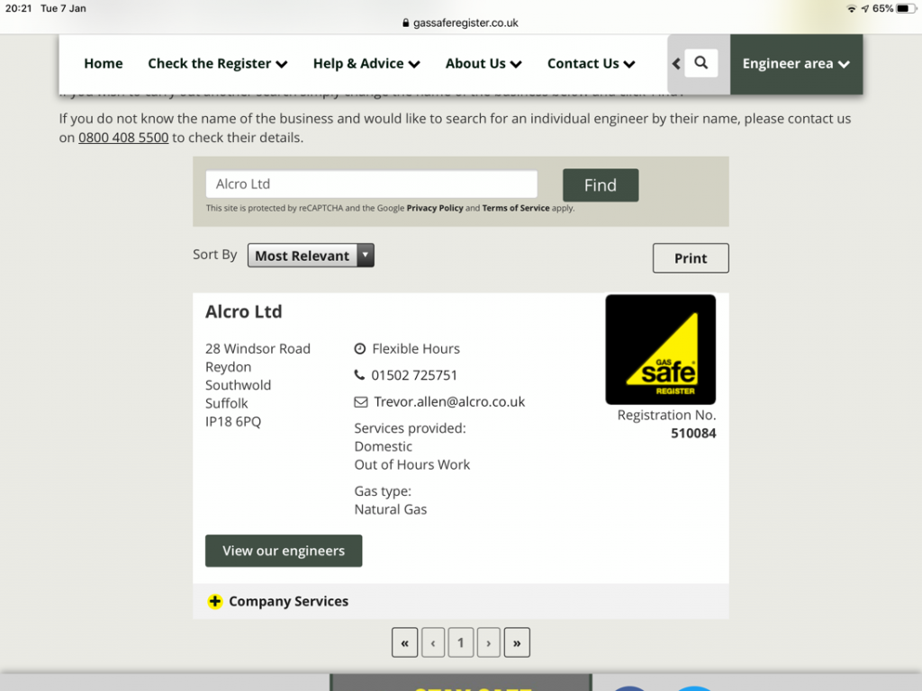 Search for the business on the Gas Safe register to check gas ID cards
