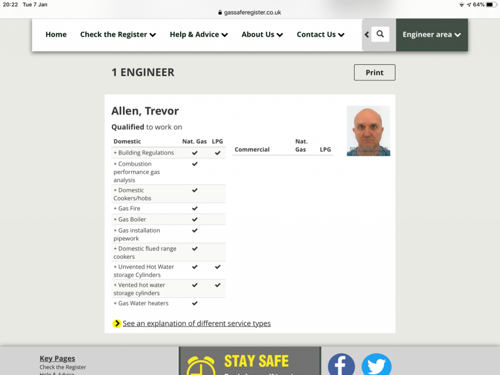 You can check the gas ID card for each engineer online